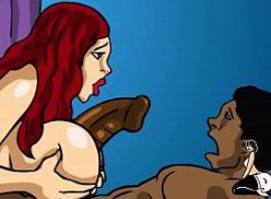 Mulher ruiva em foda com negro no hentai cartoon